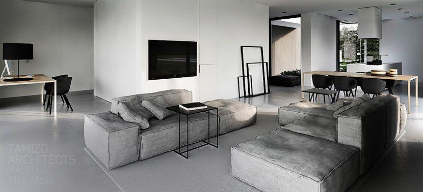 Zwart-wit-grijs interieur | Stripesandwalls.nl - Woonkamer ...