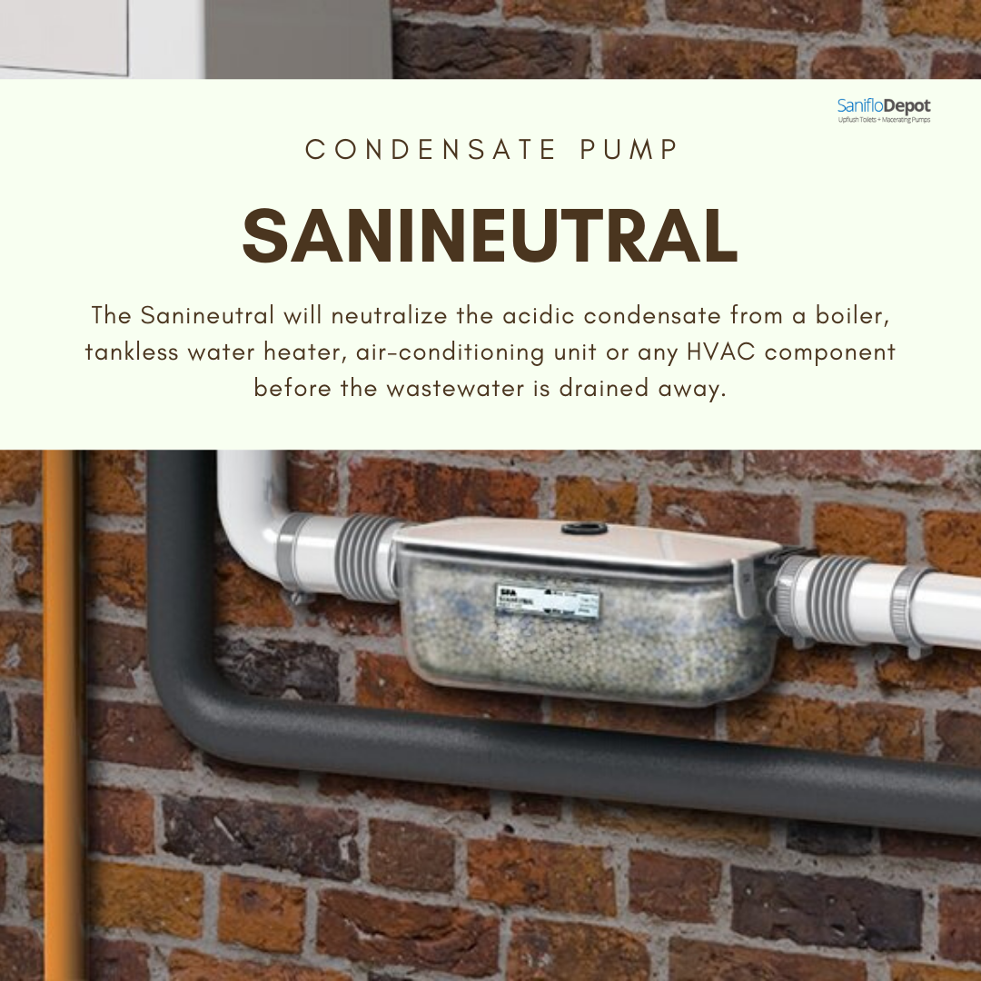 The Sanineutral Will Neutralize The Acidic Condensate From A Boiler Tankless Water Heater Air Conditioning Unit Or With Images Tankless Water Heater Air Conditioning Unit