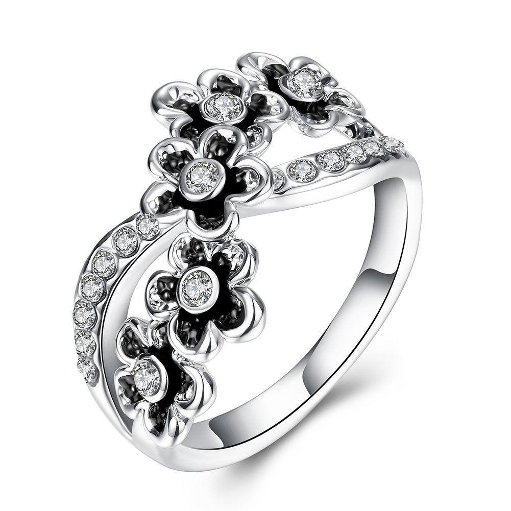 Silver Black Flowers Wave Medium Wedding Bridal Ring