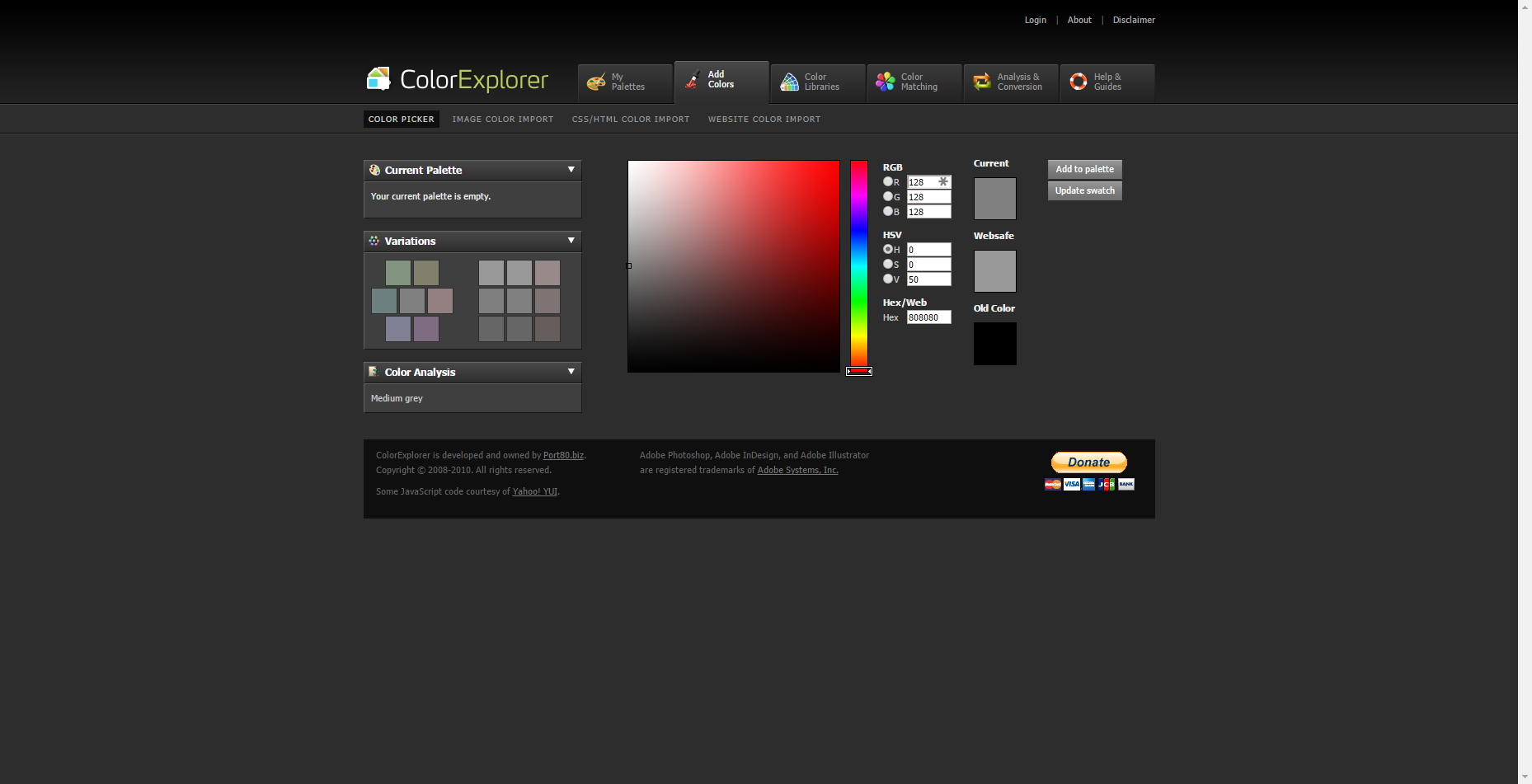 Best Free Online Color Picker COLOREXPLORER gives you color codes in RGB, HSV and Hex instantly when you choose a color from the vertical slider or color square. Choosing colors from Libraries and saving your picked colors to your Palettes are available.