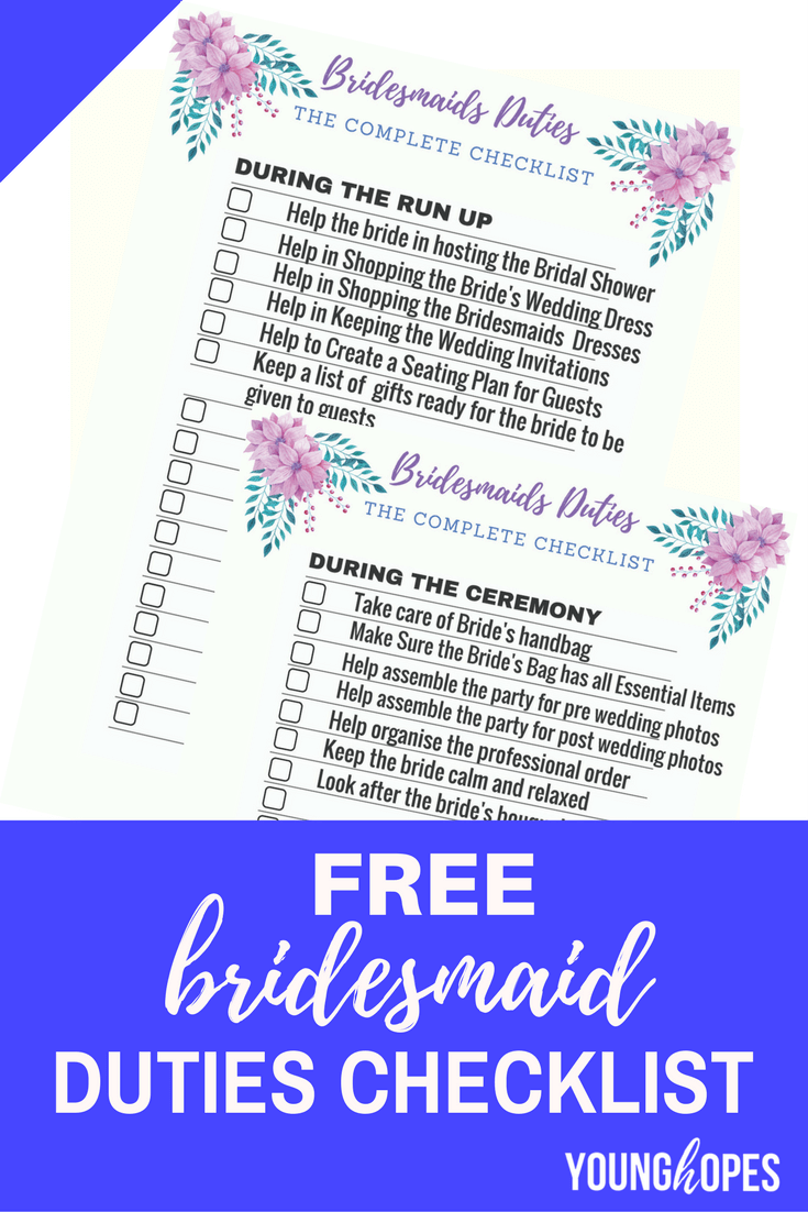 Free Bridesmaid Duties Checklist