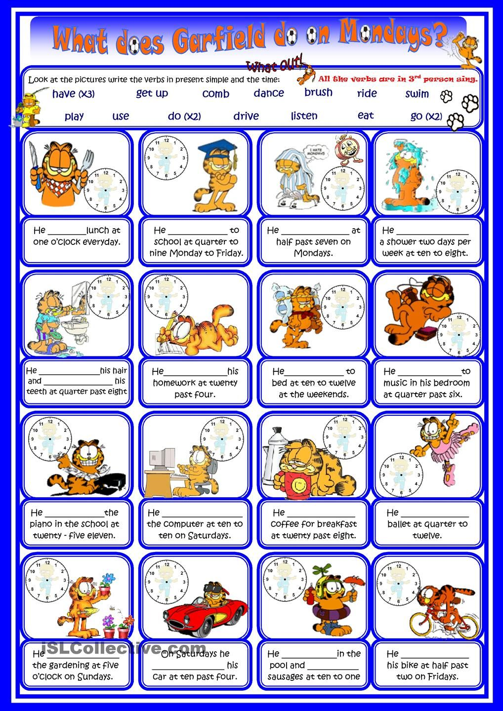 Present simple routines and time with Garfield | Grammar ...