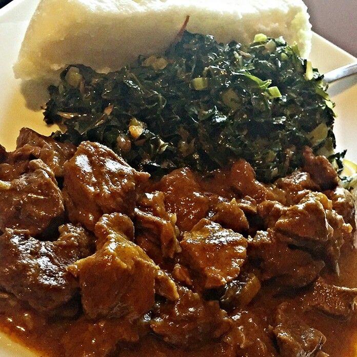 Beef Fry Ugali And Skumawiki Kenyan Food Beef Dishes Food