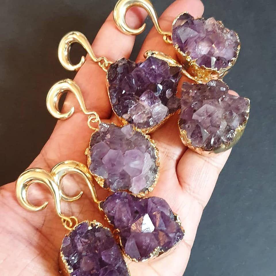Rose quartz ear hangers,raw amethyst ear weights,pendulum ear weights,guage earring