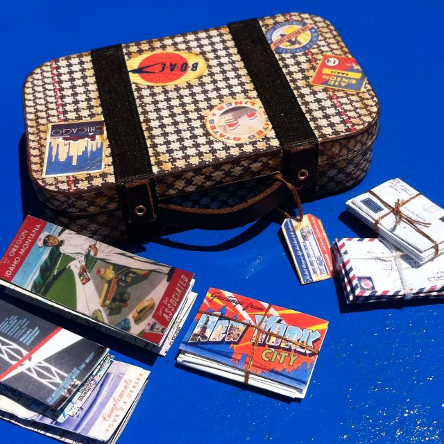 Altoids tin suitcase with maps and letters by Carol D.