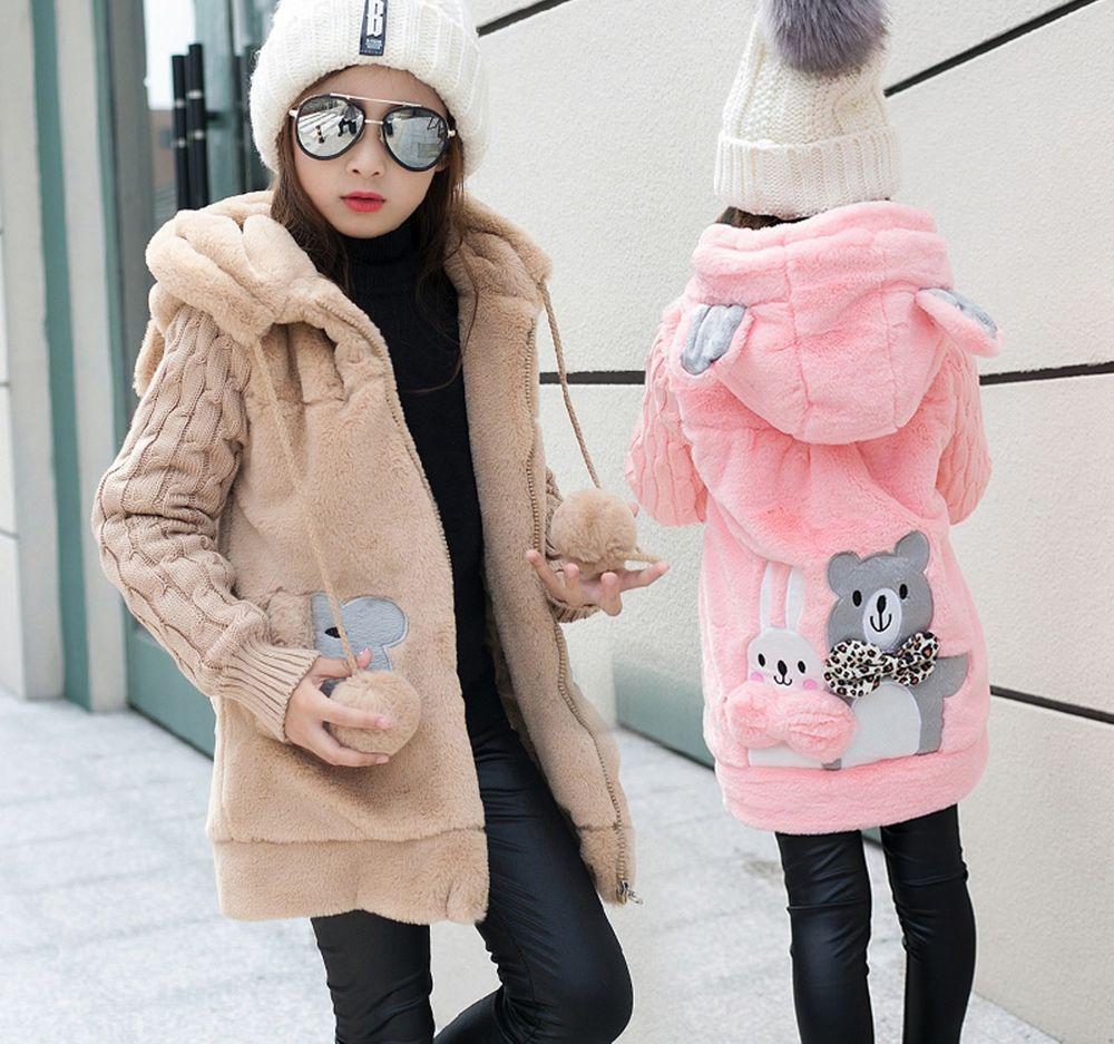 Kids Girls Fur Fleece Long Hooded jacket Winter Warm Thick Trench Coat Parka