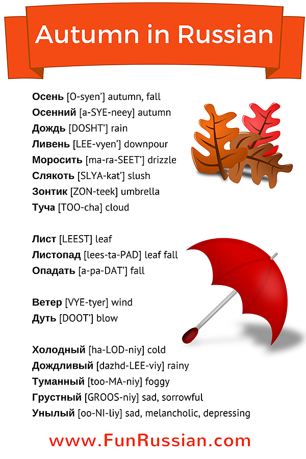 Autumn In Other Languages: Autumn In Russian. Learn Autumn Words In Russian With
