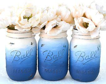 Mason Jar Decor, Painted Mason Jars, Painted Jars, Distressed Jars, Dorm Decor, Chic Decor, Jar Centerpiece, Jar Vase, Mason, Wedding Jars