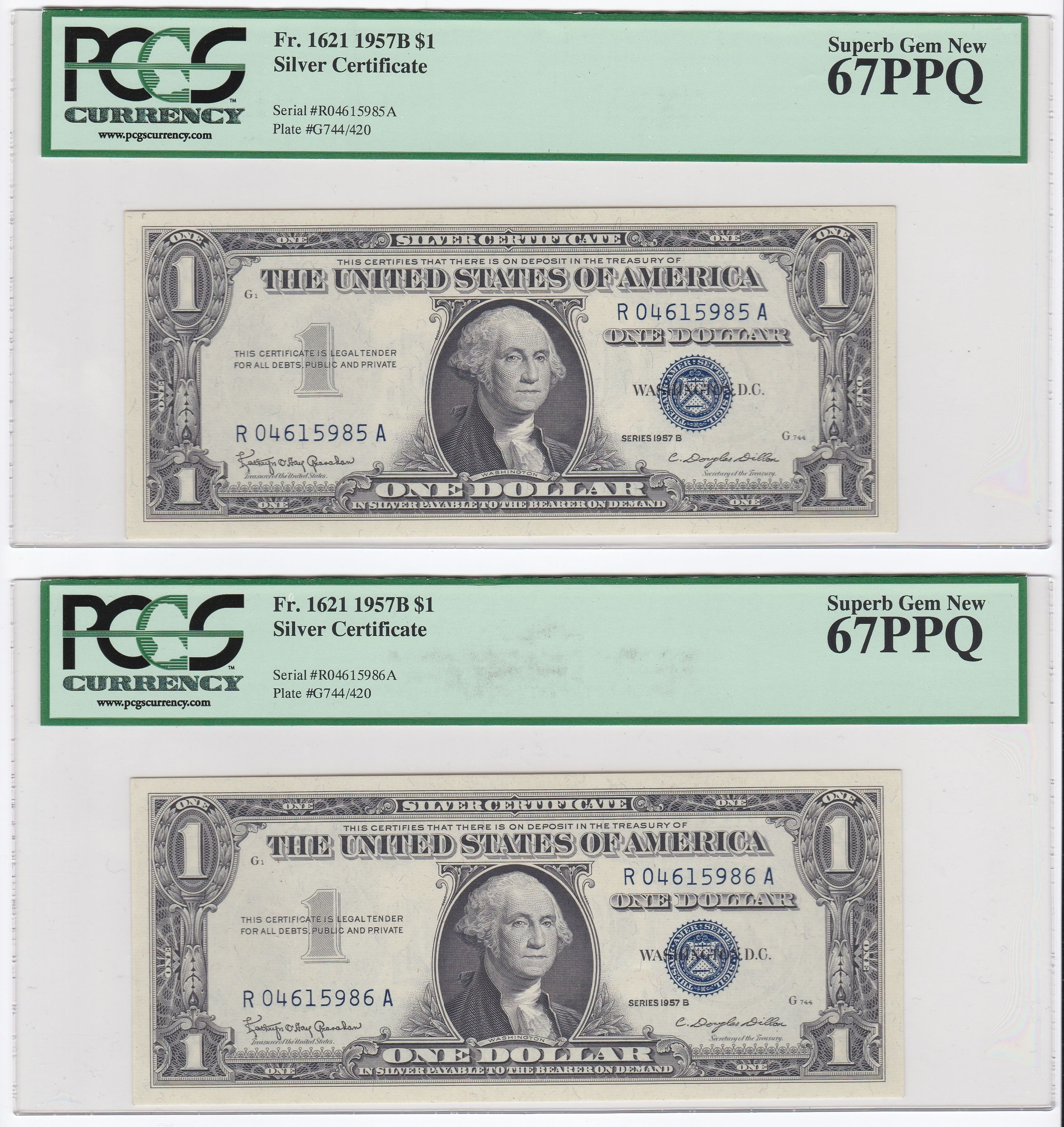 Consecutive Serial Numbered Series 1957B $1 Silver Certificates ...