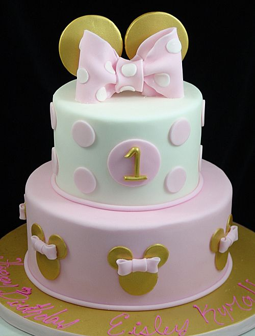 Awesome Pink And Gold Minnie Mouse 1St Birthday Cake Minnie Mouse Personalised Birthday Cards Veneteletsinfo