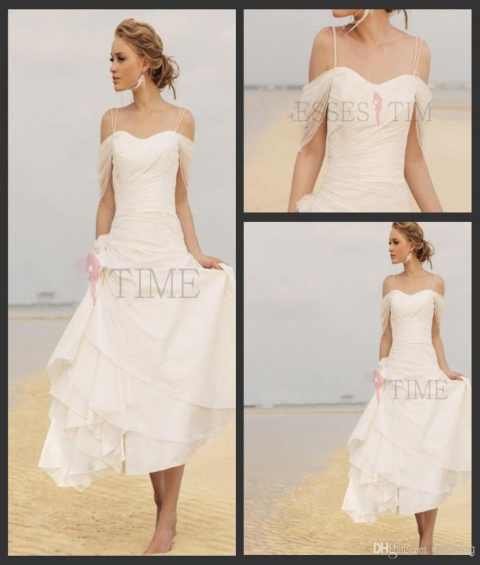 Short Casual Beach Wedding Dresses 2017 Fall Chiffon Knee Length Ruffles Off Shoulder Y Spaggti Straps Vintage White Bridal Gowns