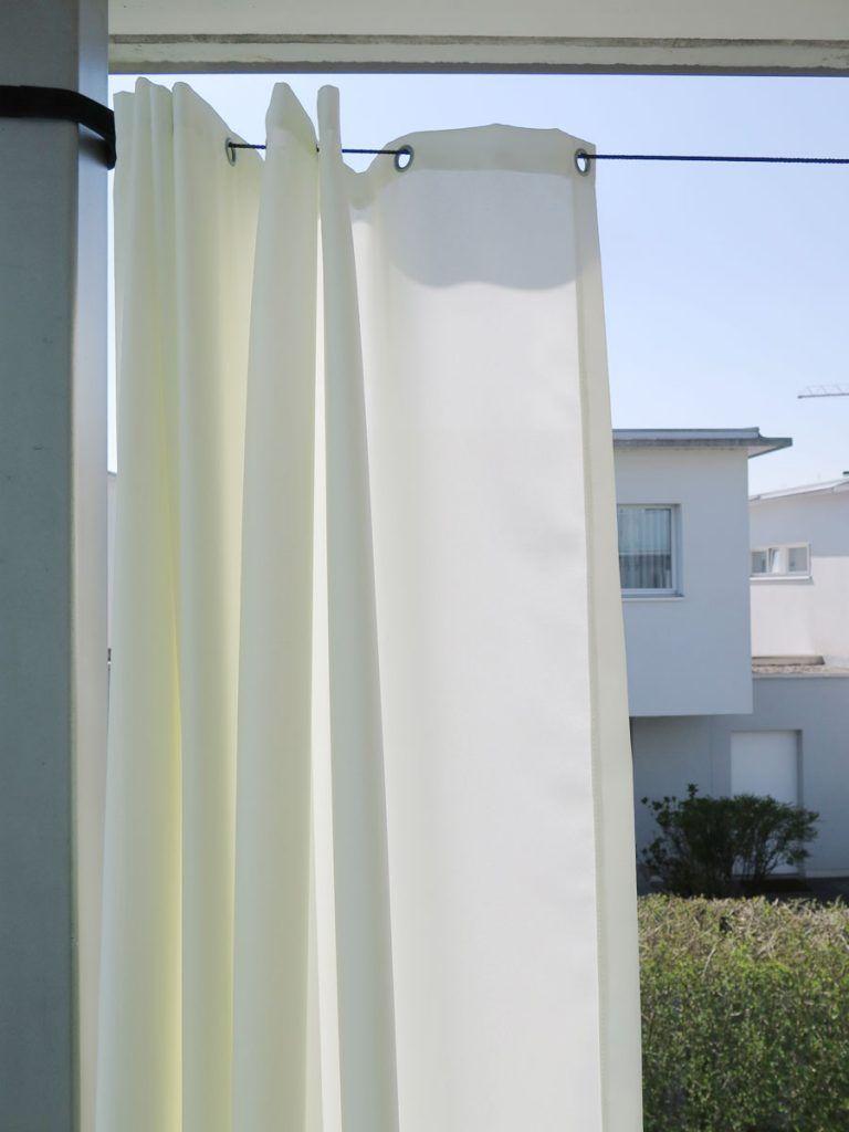 Outdoor-Vorhang SANTORINI 228cm breit [Fertigvorhang weiss] » vorhangbox.ch