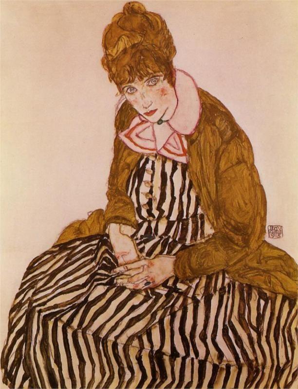 Edith Schiele, Seated, 1915  Egon Schiele