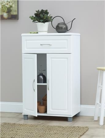 Ameriwood Home Systembuild Kendall 24 1 Drawer 2 Door Base Storage Cabinet White Keep Yo Freestanding Storage Cabinet Storage Cabinet Laundry Room Storage