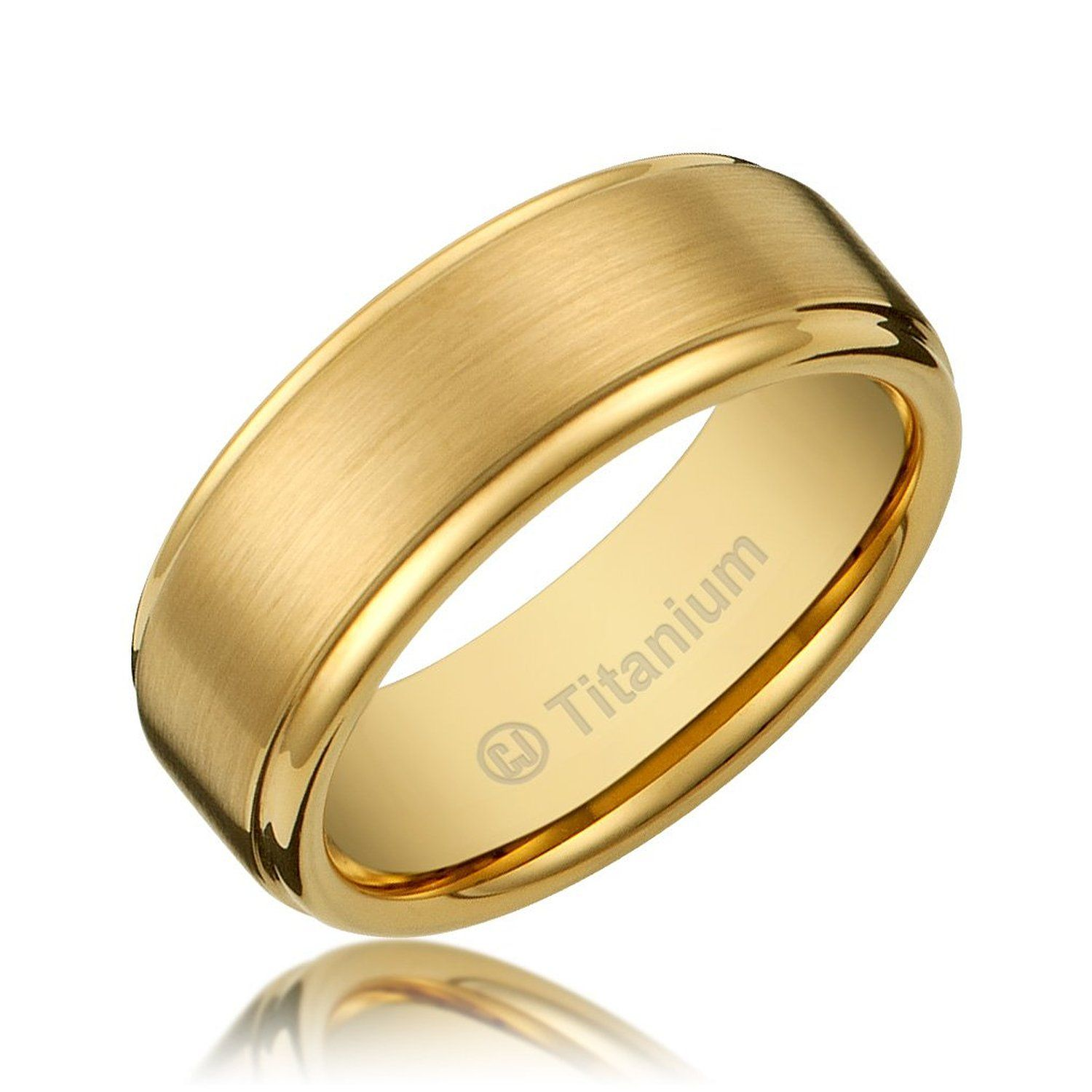 8MM Men's Titanium GoldPlated Ring Wedding Band with Flat