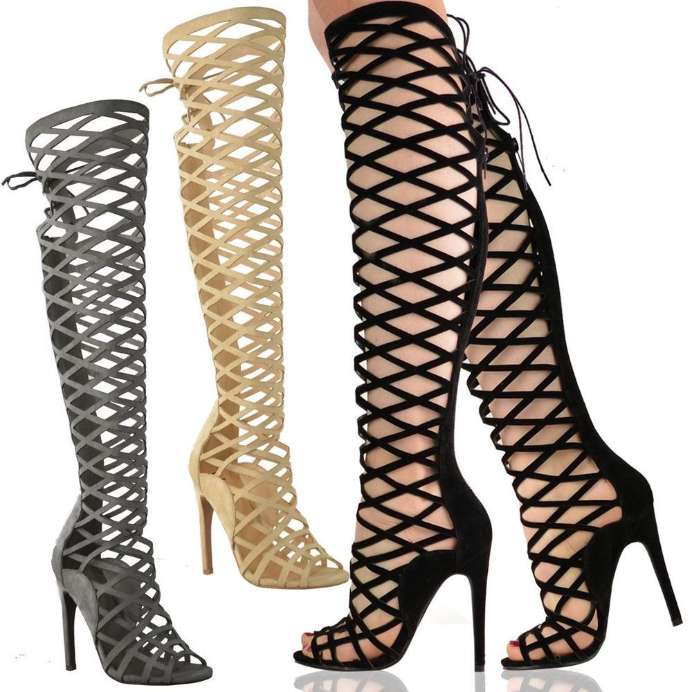 77c5ec65dda3 LADIES WOMENS CUT OUT LACE KNEE HIGH HEEL BOOTS GLADIATOR SANDALS STRAPPY  SIZE