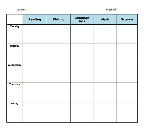 Sample Blank Lesson Plan Template  Free Documents In Pdf
