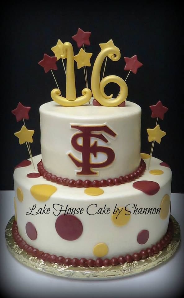 Sweet 16 Fsu Florida State University Seminoles Cake Stars Polka