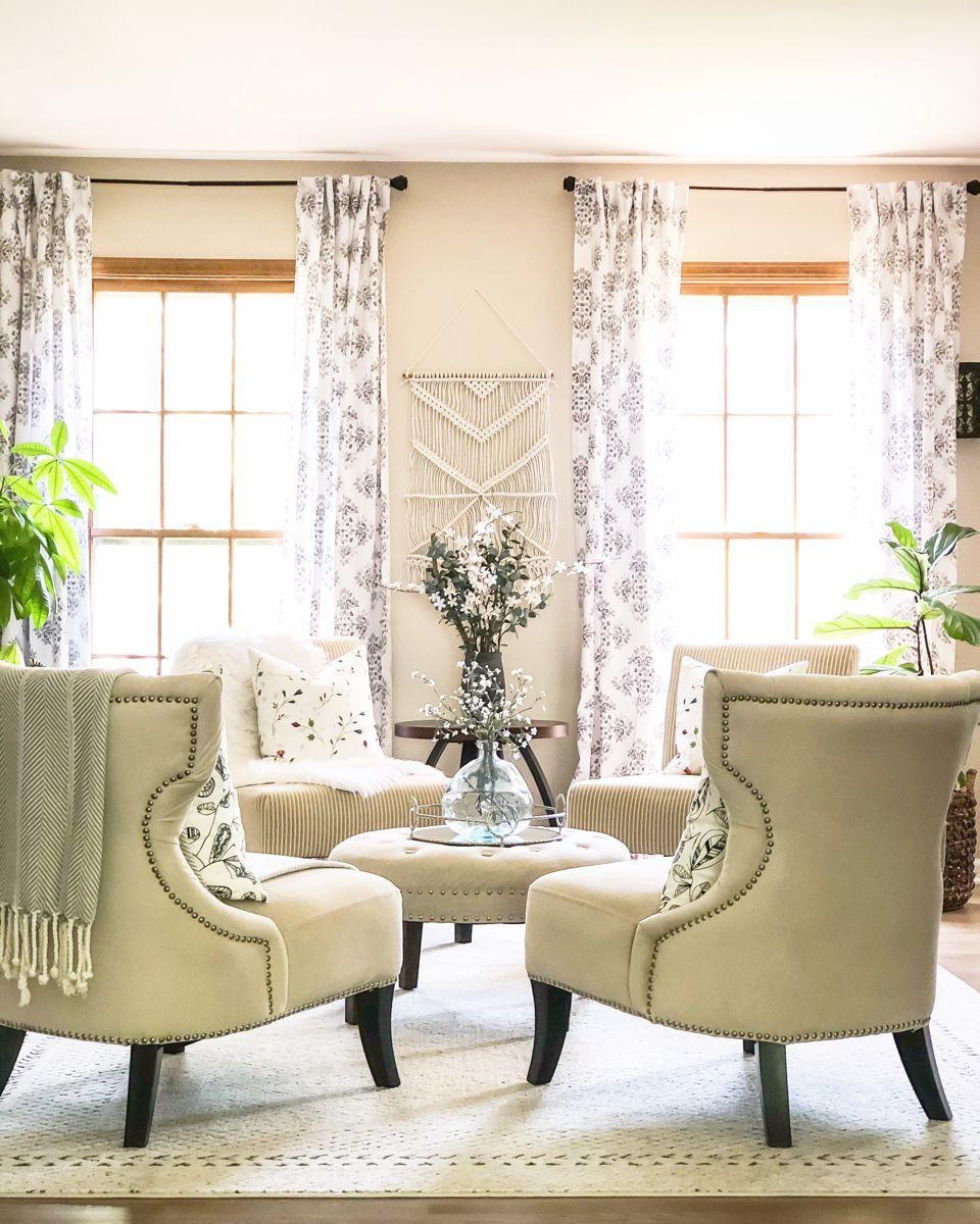 We love this four chair setup for a small living room! #ad #livingroomdecor #livingroomideas #livingroomdesigns #livingroomdecoration #homedecorideas
