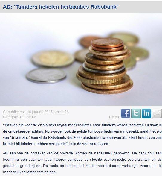 Photo of 16.01.2015 Gartenbauer kritisieren Neuberechnungen der Rabobank (Algemeen Dagblad) # Neuberechnungen, …