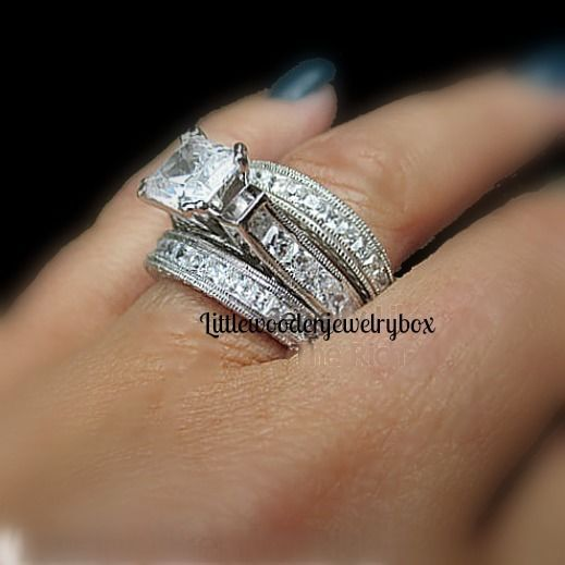 925 sterling silver 14k princess diamond cut engagement ring wedding band set in jewelry watches - Wedding Ring And Band Set