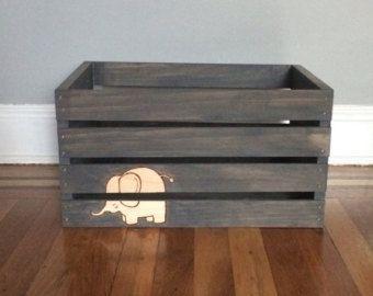 Baby Crate, Baby Bin, Gender Neutral Baby Bin, Elephant Nursery Crate, Elephant Baby Decor, Elephant Baby Bin
