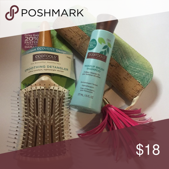 NEW EcoTools Hairbrush, Makeup Brushes & Cleaner This