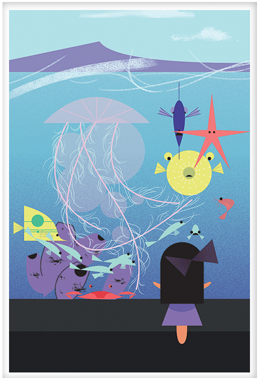Aquarium in the style of Charley Harper