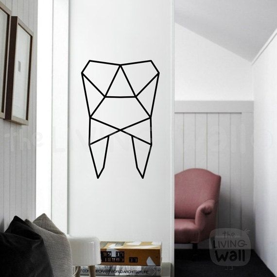 Geometric Tooth Wall Art, Tooth Stickers Wall Decal Decor