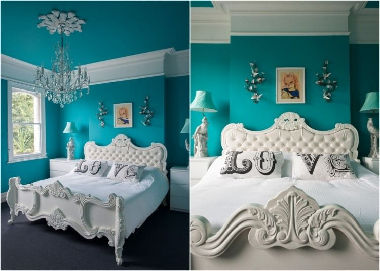 Superbe Türkis Wandfarbe Und Weißes Bett Im Klassischen Stil