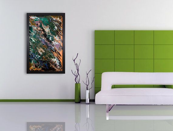 Large abstract wall art . Contemporary modern glass art. Unique ...