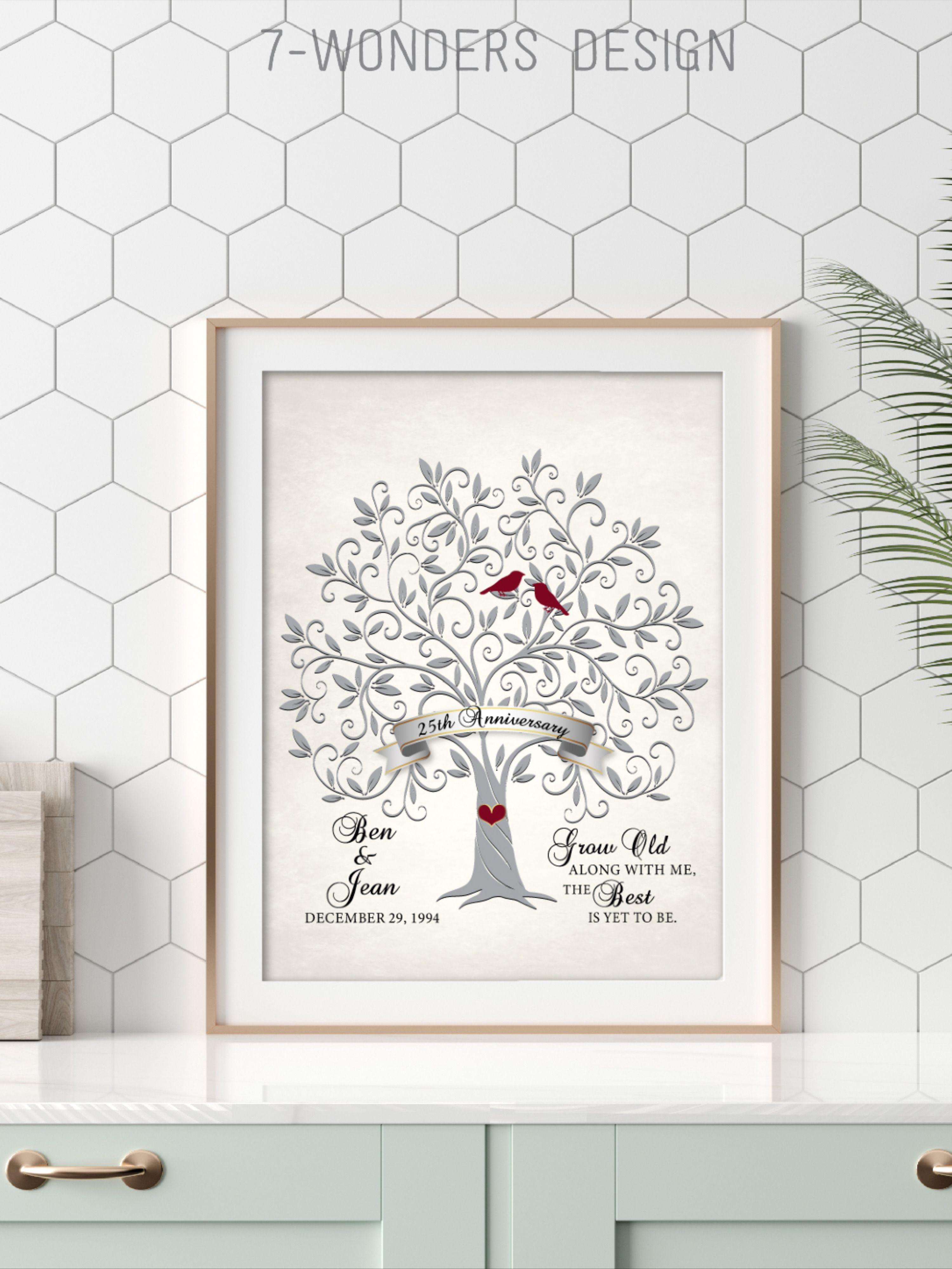 25th Anniversary Gift, Wedding Art Print Custom Gift, ANY