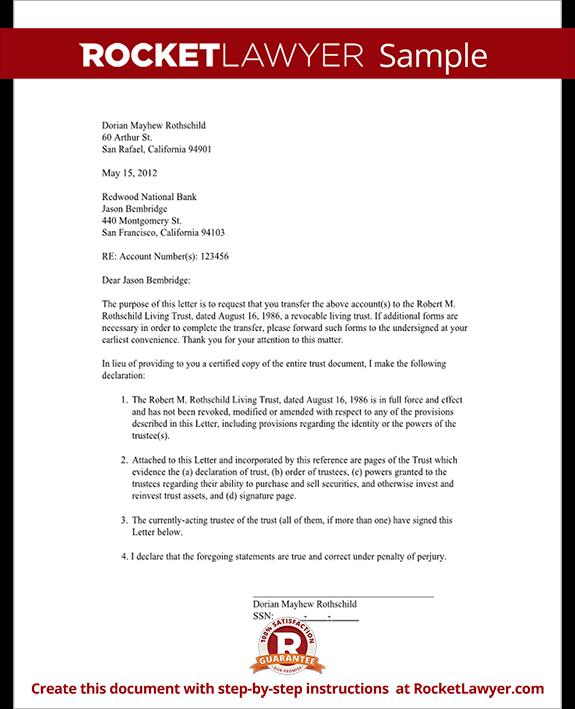 Trust Letter Broker Bank Sample Rocket Lawyer Living Certificate
