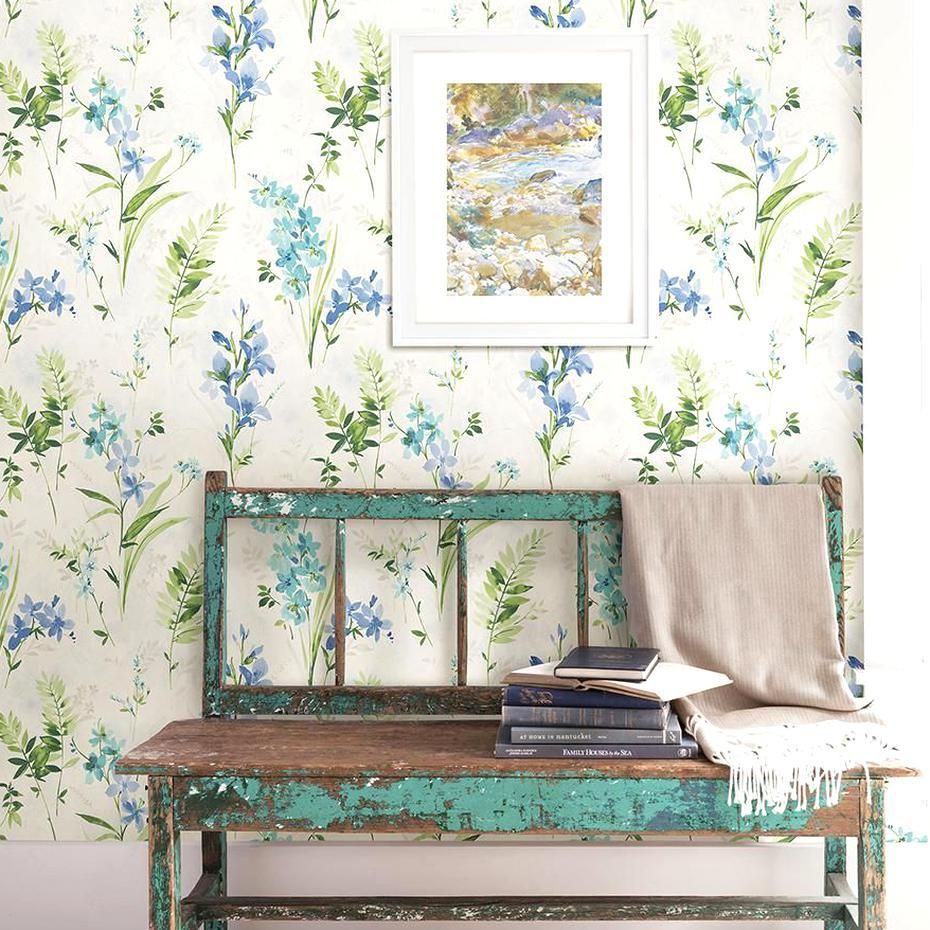 8 In X 10 In Henrietta Blue Floral Wallpaper Sample Blue Floral Wallpaper Pink Floral Wallpaper Floral Wallpaper
