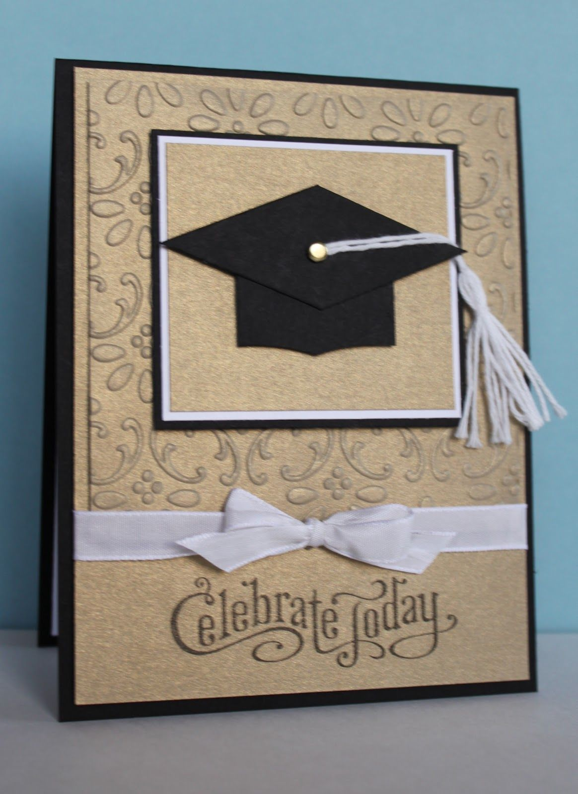 Handmade graduation card clean and simple kraft with black and white punch art for Graduation announcements pinterest