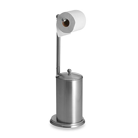 $39.99 bed bath and beyond -  This attractive satin nickel toilet paper stand stores two reserve rolls of toilet paper in the base, which has a convenient one piece lid. Stand is rust resistant with a non-skid padded bottom.