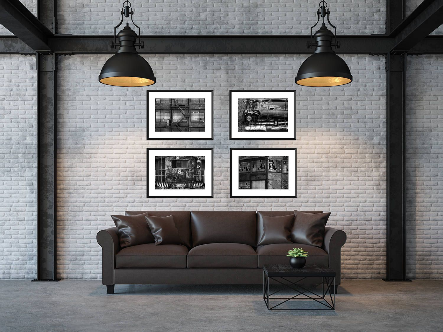 Industrial B W Print Set Set Of 4 Retro Masculine Prints Loft Style Home Decor Man Art Apocalyptic Decor Old Building And Car Wall Art Loft Style Homes Loft Style Apartment Wall Art