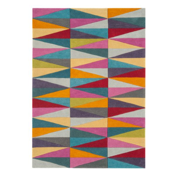 Funk Triangles Multi Colour Rug ❤ liked on Polyvore featuring home, rugs, multicolor rug, modern area rugs, apple rugs, colorful rugs and modern rugs