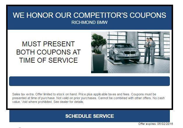 Coupon For Service At Richmond Bmw Midlothian Http Www Richmond Bmw Com Specials Service Htm Bmw Richmond Midlothian
