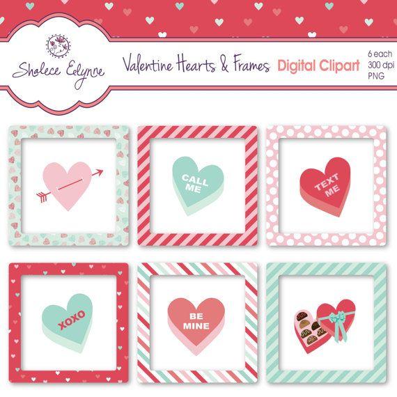 Valentine Hearts & Frames Digital Clipart Instant by ShaleceElynne, $3.99 #Clipart #Digital