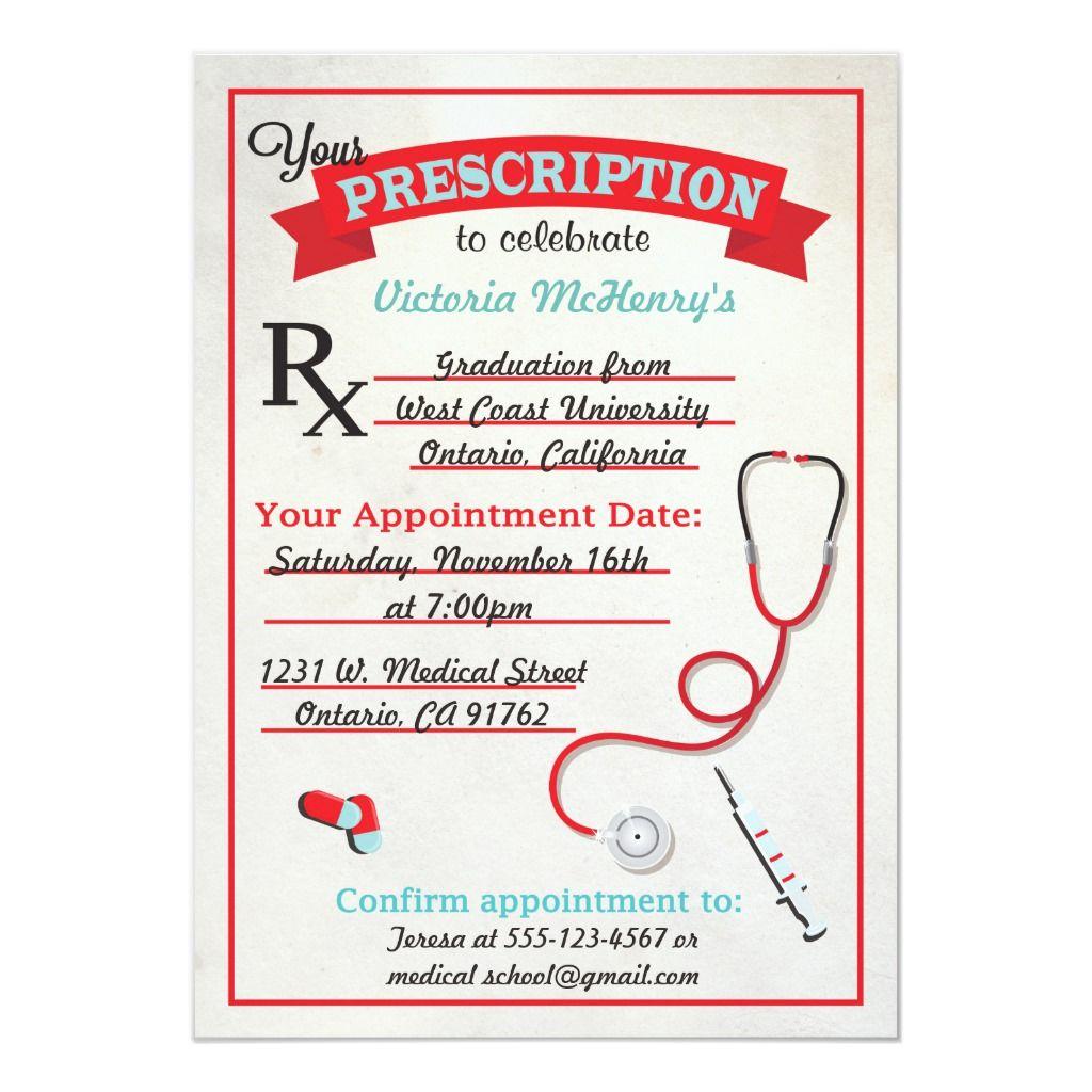 Medical Graduation Prescription Pad Invitation Online