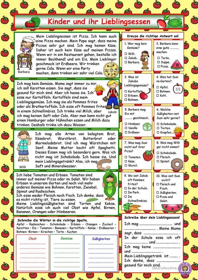 Kinder und ihr Lieblingsessen (+Lösung) | Lesementor | Pinterest