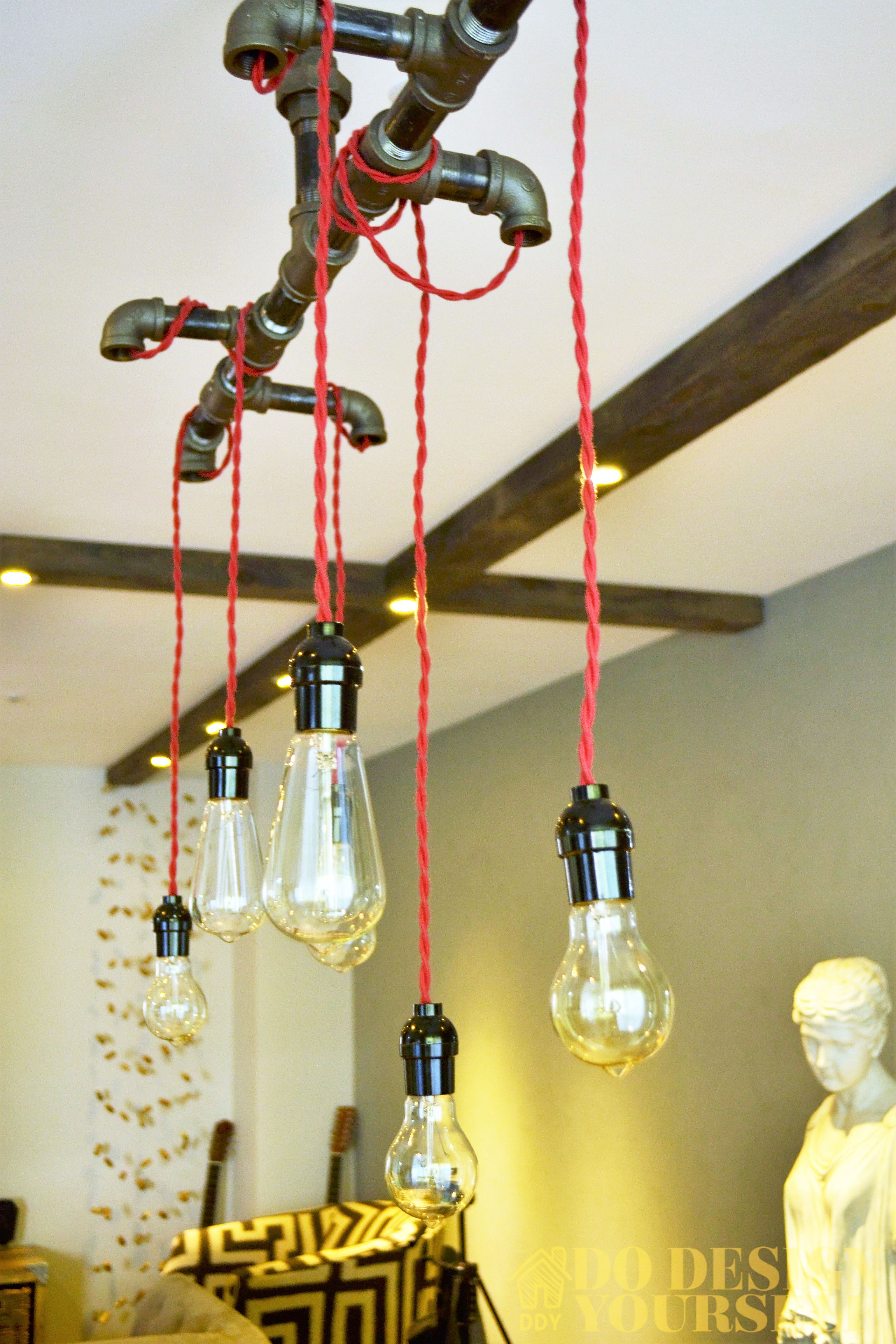 Diy Industrial Style Light Fixture With Red Twisted Wires And