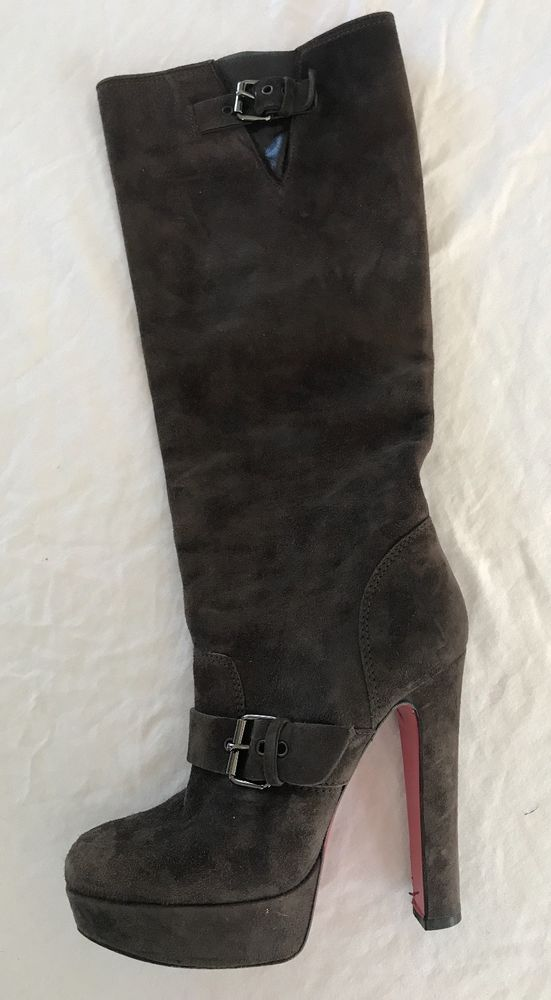 fc7e4bccefba CHRISTIAN LOUBOUTIN BROWN SUEDE KNEE HIGH PLATFORM BOOTS (OMG!)~ 36.5   ChristianLacroix  BOOTS
