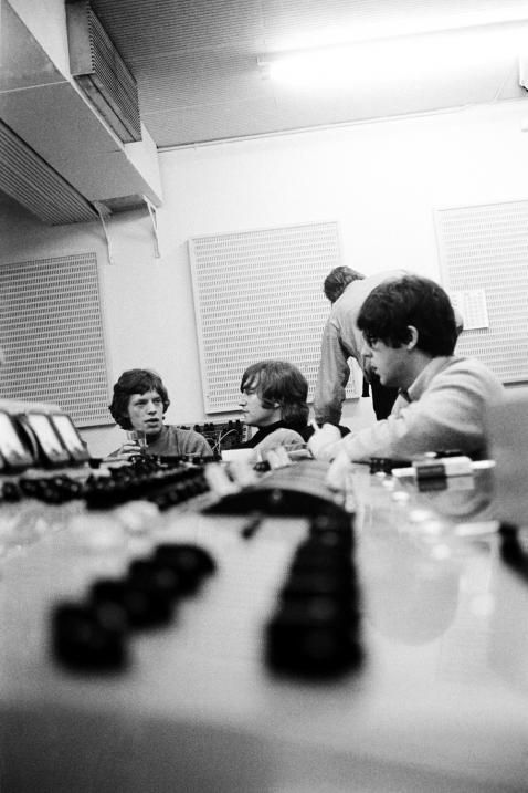 """Mick Jagger with Paul McCartney and John Lennon at Abbey Road, during the """"Revolver"""" sessions"""