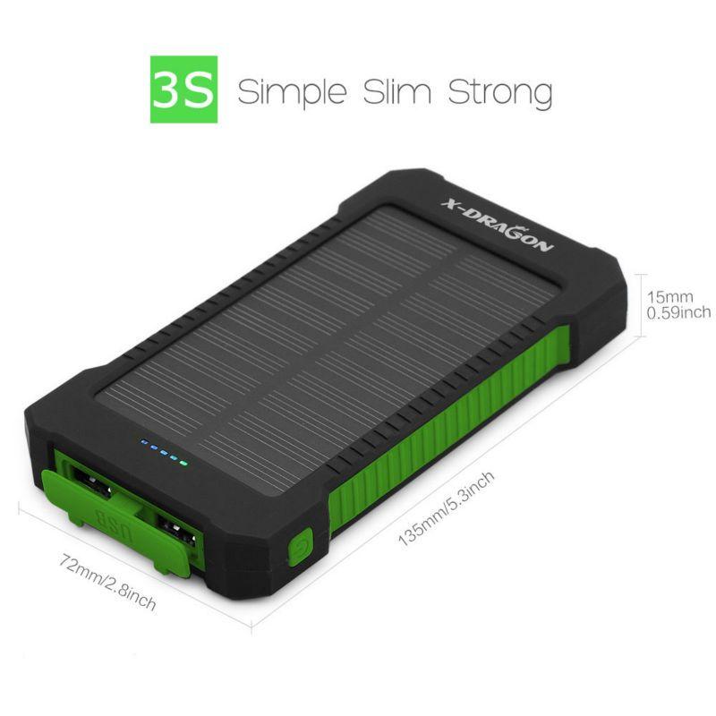 Nice Solar Battery Charger X Dragon Solar Power Bank 10000mah For Mobile Iphone Ipad Air Mini Ipod Samsun Solar Battery Charger Solar Power Bank Solar Battery