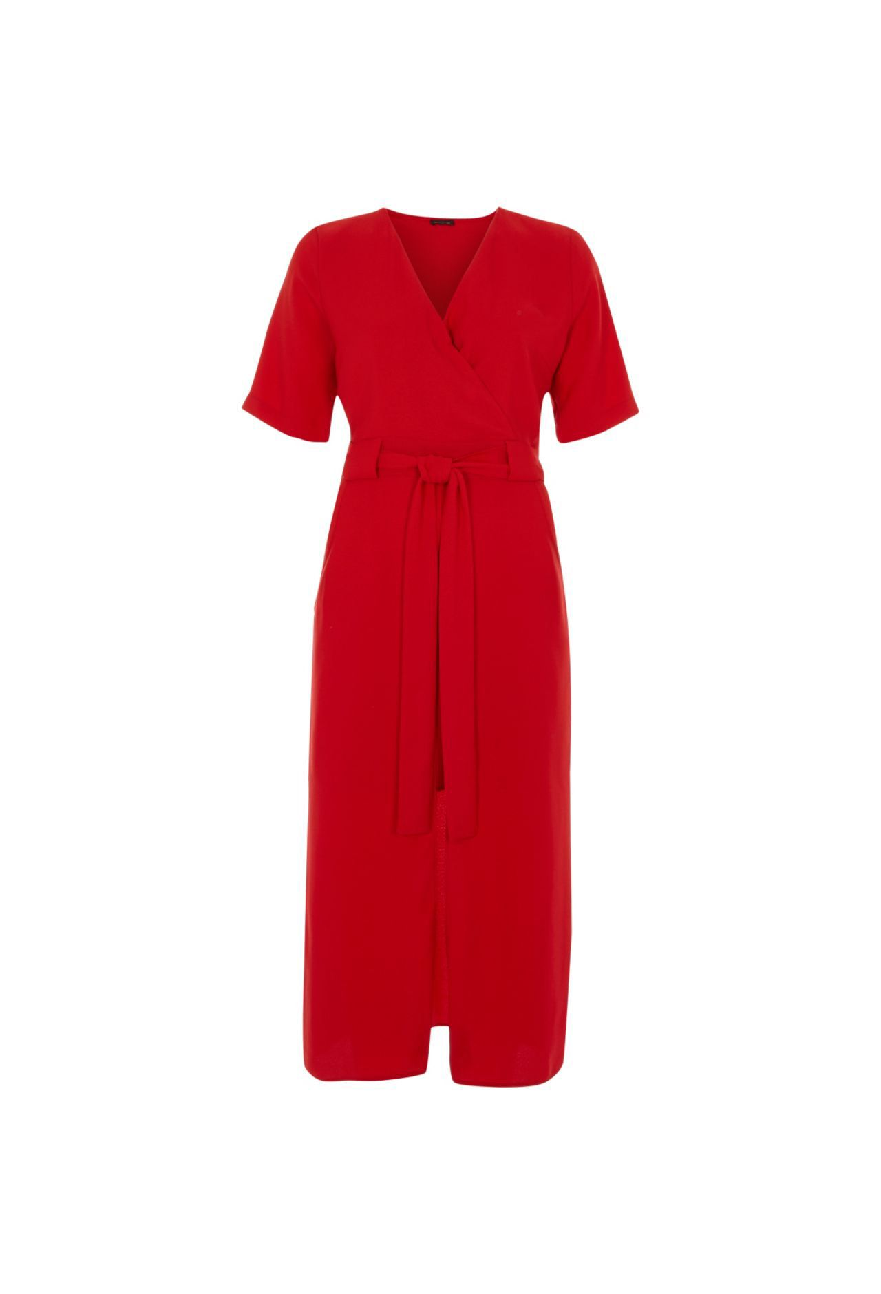 Checkout this Bright red wrap shirt midi dress from River Island