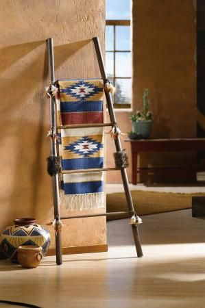 Southwestern Style Blanket Quilt Ladder Home Decor NEW