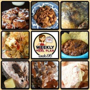 This week's weekly menu features Crock Pot BBQ Chicken Flatbreads, Crock Pot Chicken Enchiladas, Crock Pot Steak Mushroom Soup, Easy Crock Pot Ham, Slow Cooker Stuffing, Crock Pot Lasagna, Easy Crock Pot Honey Pork Steaks, Old Fashioned Crock Pot Lima Beans and Ham, Crock Pot Upside Down Blueberry Lemon Cake, Crock Pot Hot White Chocolate and Crock Pot Oatmeal Raisin Cookie Overnight Oats. #crockpotlasagna This week's weekly menu features Crock Pot BBQ Chicken Flatbreads, Crock Pot Chic #crockpotlasagna