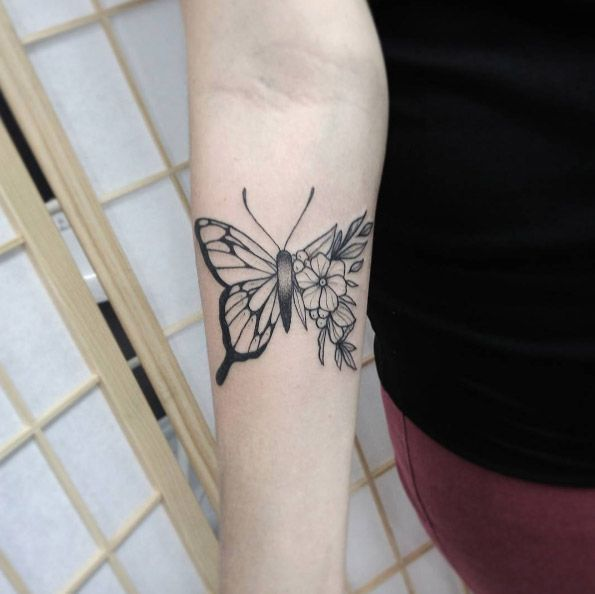 Photo of 55 Incredibly great tattoos for women – half-flower butterfly from Mac – #am …